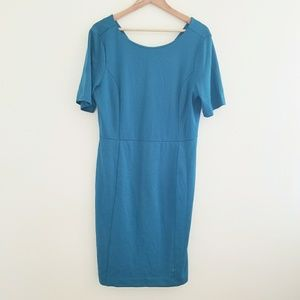 Ann Taylor Factory Teal Sheath Dress Size 14